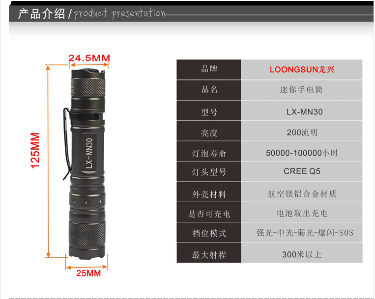 LX-MN30强光手电筒参数